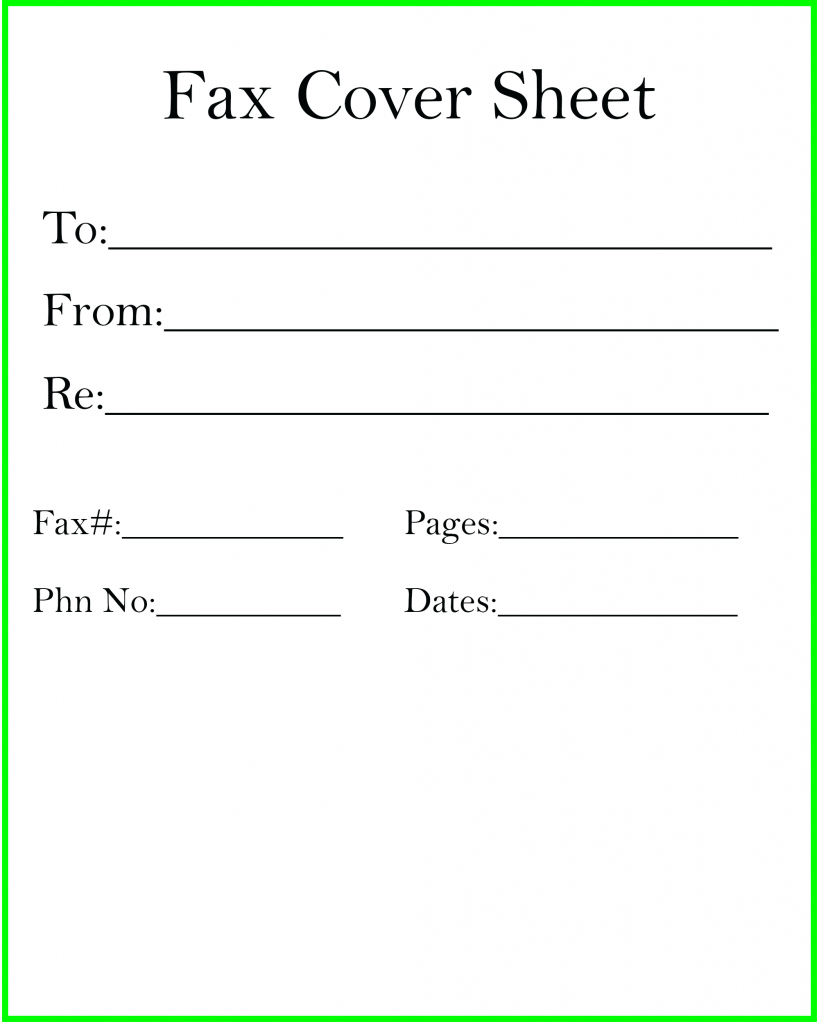 Personal Fax Cover Sheet