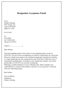 Resignation Acceptance Email