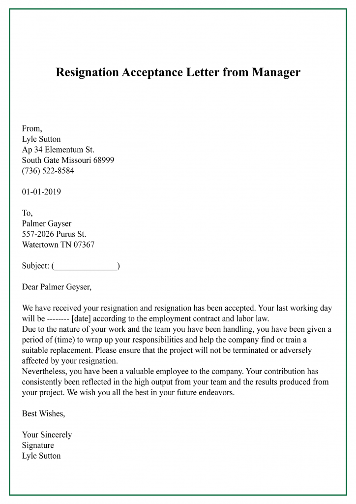 Resignation Acceptance Letter from Manager