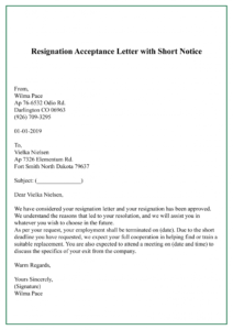 Resignation Acceptance Letter with short notice