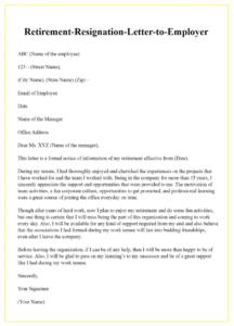 Retirement Resignation Letter Template