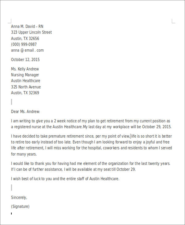 Retirement Resignation Letter Example