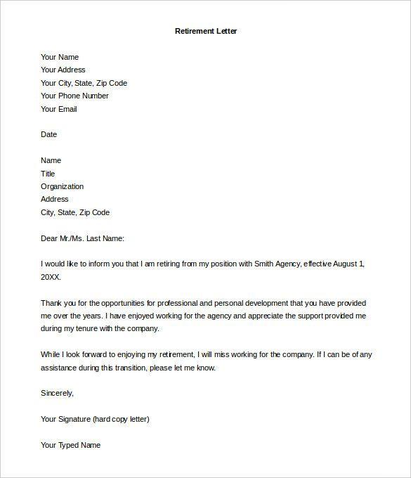 Retirement Resignation Letter PDF