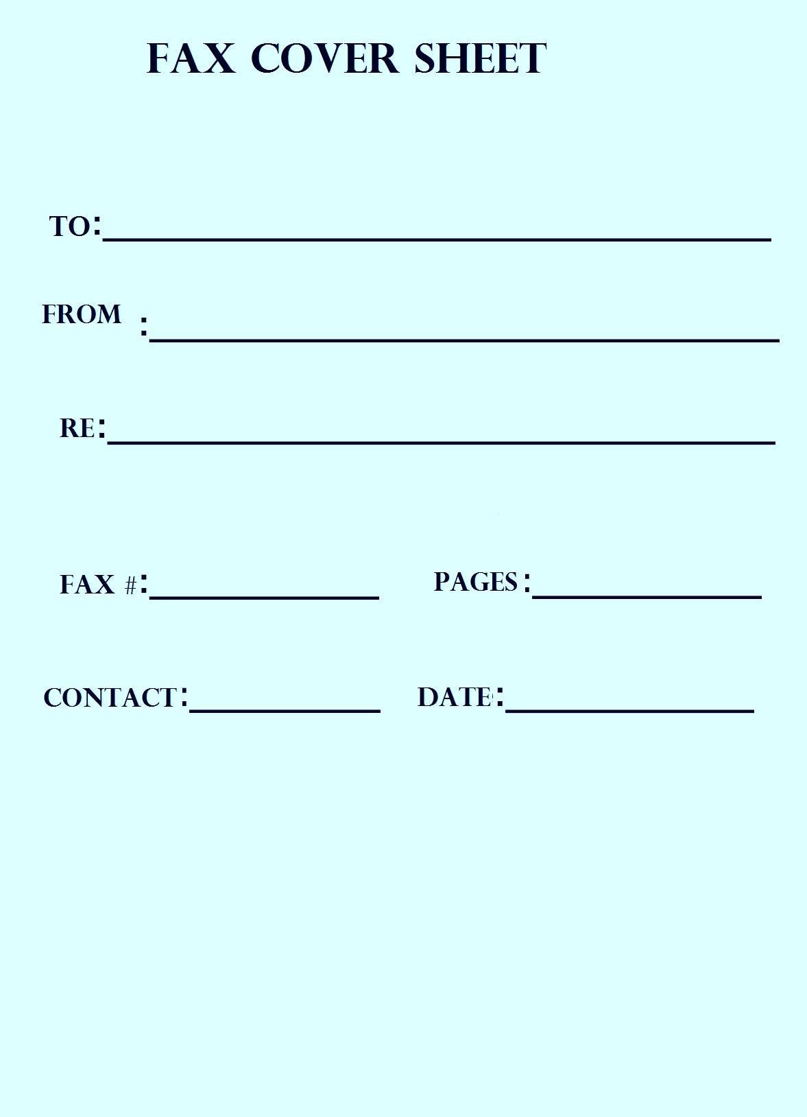 Standard Fax Cover Sheet