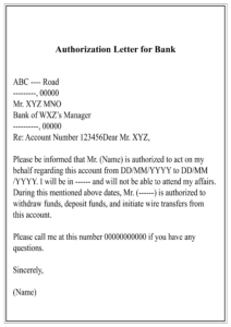 Bank Authorization Letter