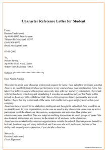 Character Reference Letter For Student