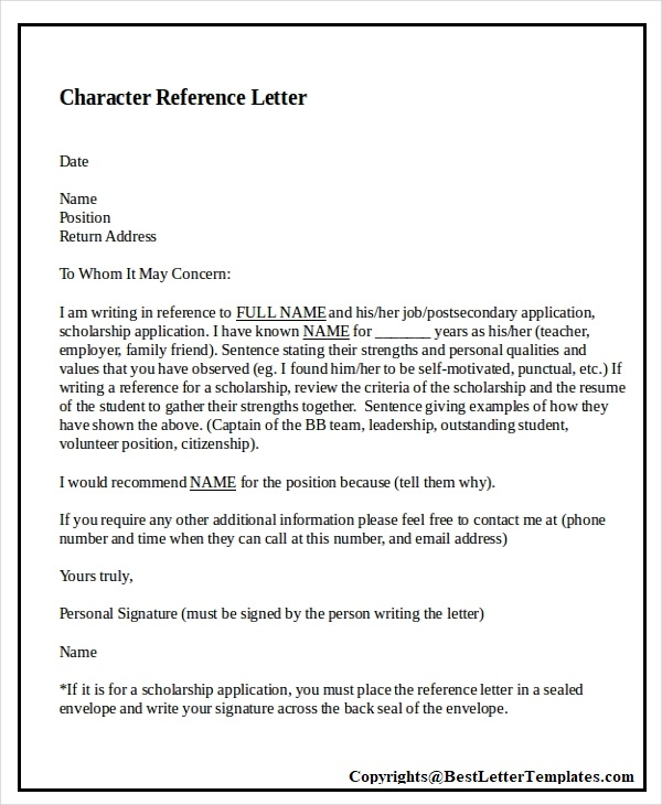Character Reference Letter Samples from bestlettertemplates.com
