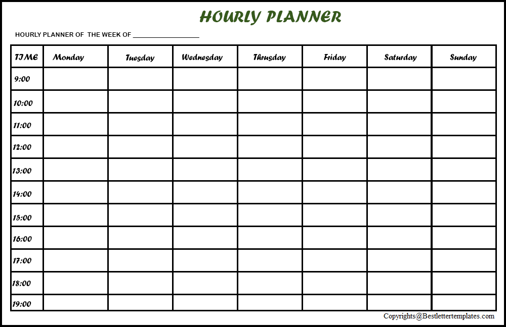 Hourly Weekly Planner
