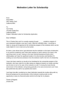 Letter of Motivation For Scholarship