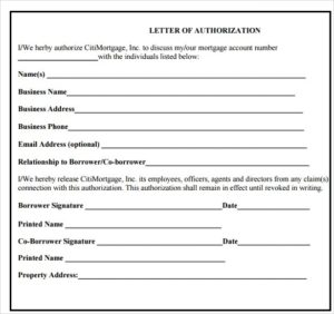 Letter of the Authorization Form