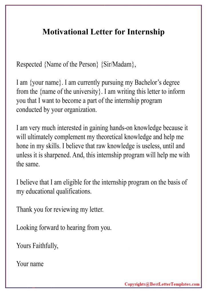 Motivation Letter For Internship Examples