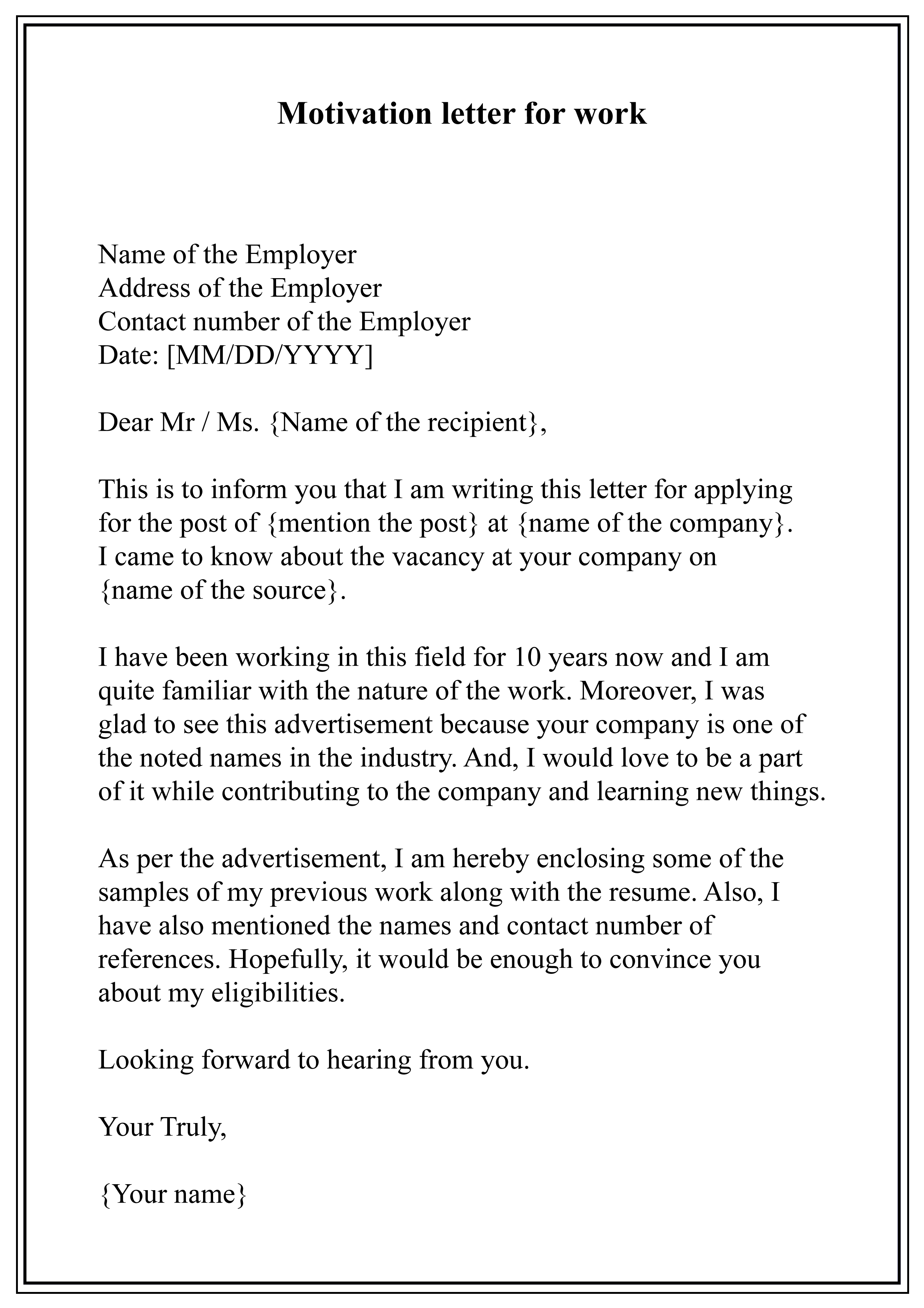 Motivation Letter Template