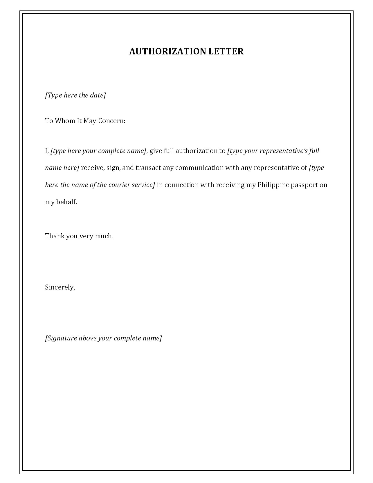 Sample Authorization Letter Template