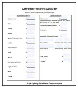 Sample Budget Planner