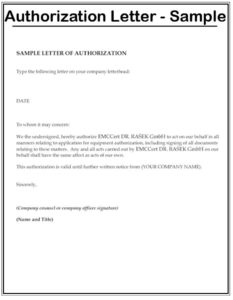 Sample Letter of Authorization To Represent
