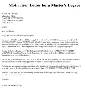 Sample Motivation Letter Example