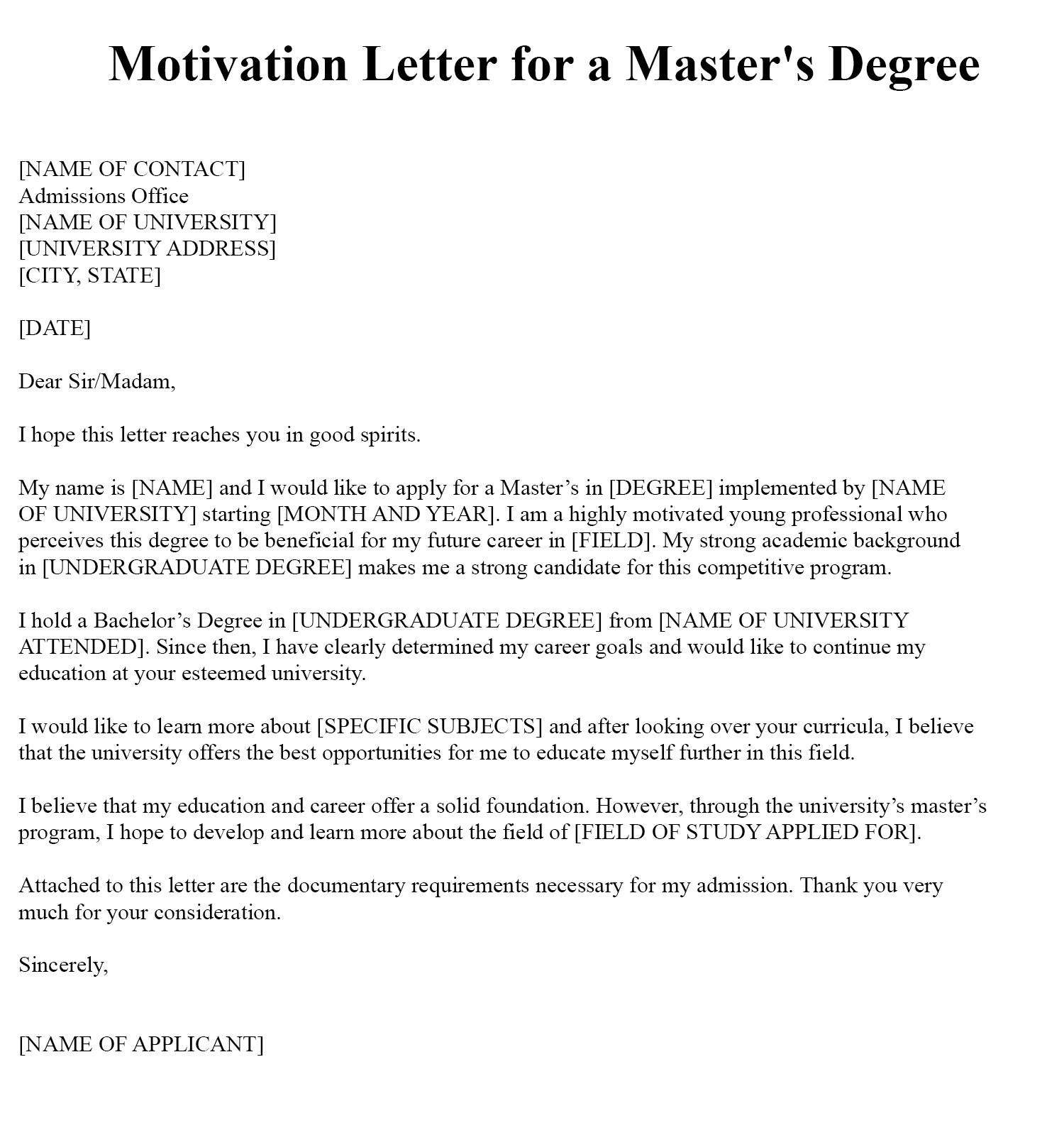 Sample Motivation Letter Example