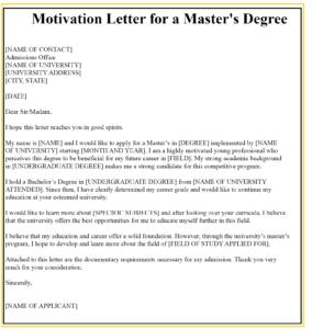 Sample Motivation Letter For Master's Degree