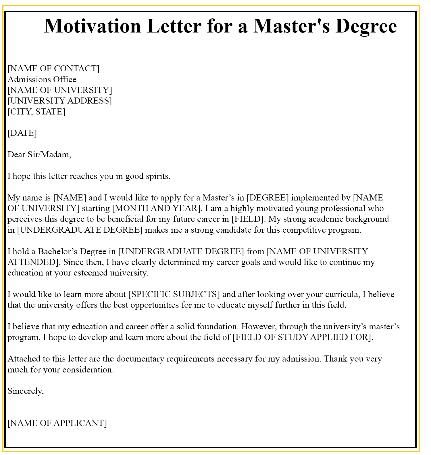 Sample Motivation Letter For Master's Degree