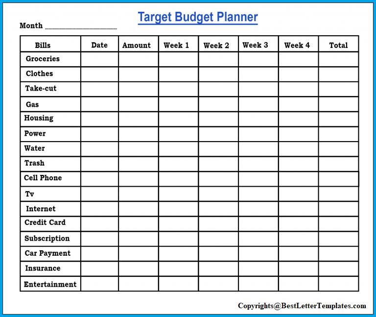 Target Budget Planner