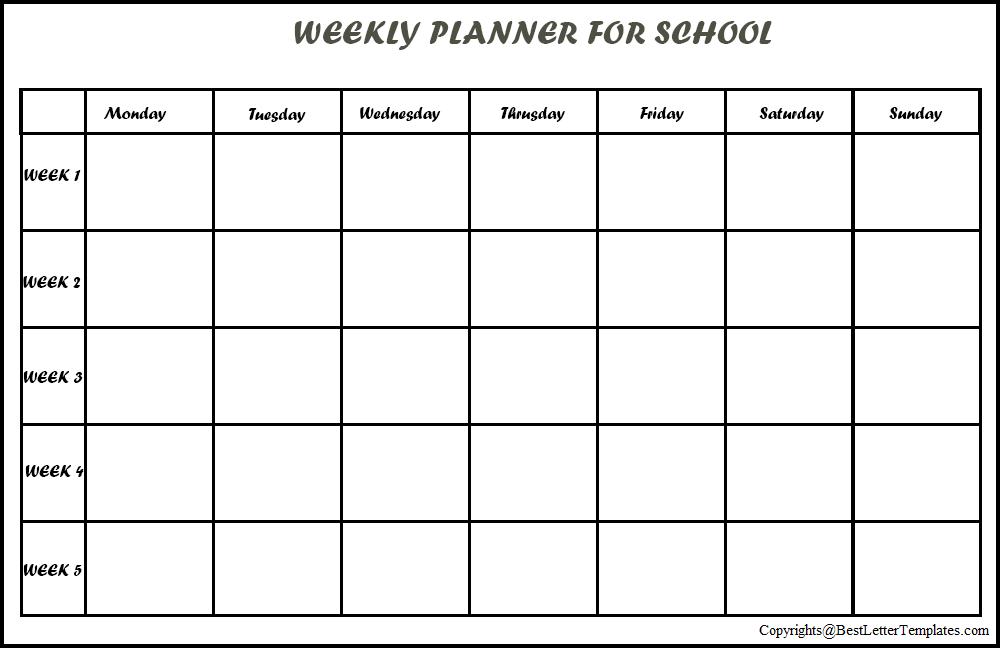 Weekly Planner For School