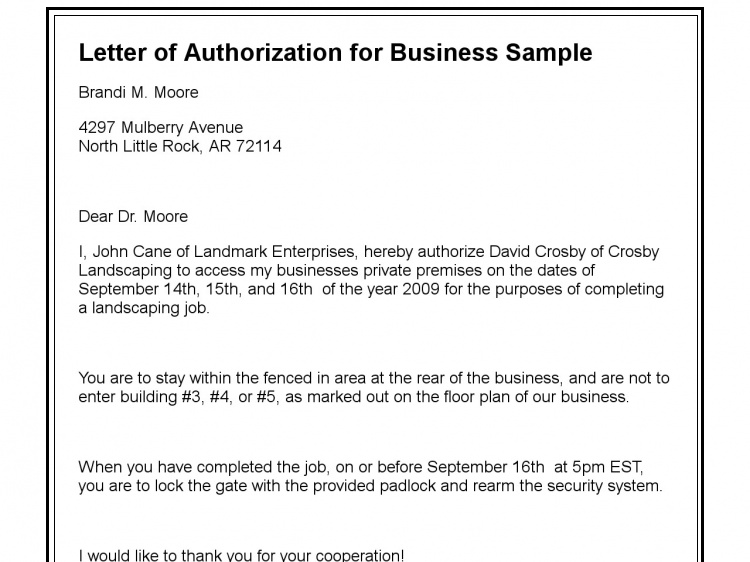 What is Letter of Authorization
