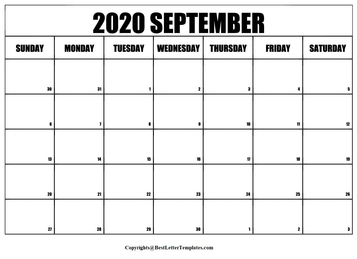 2020 September Calendar Template