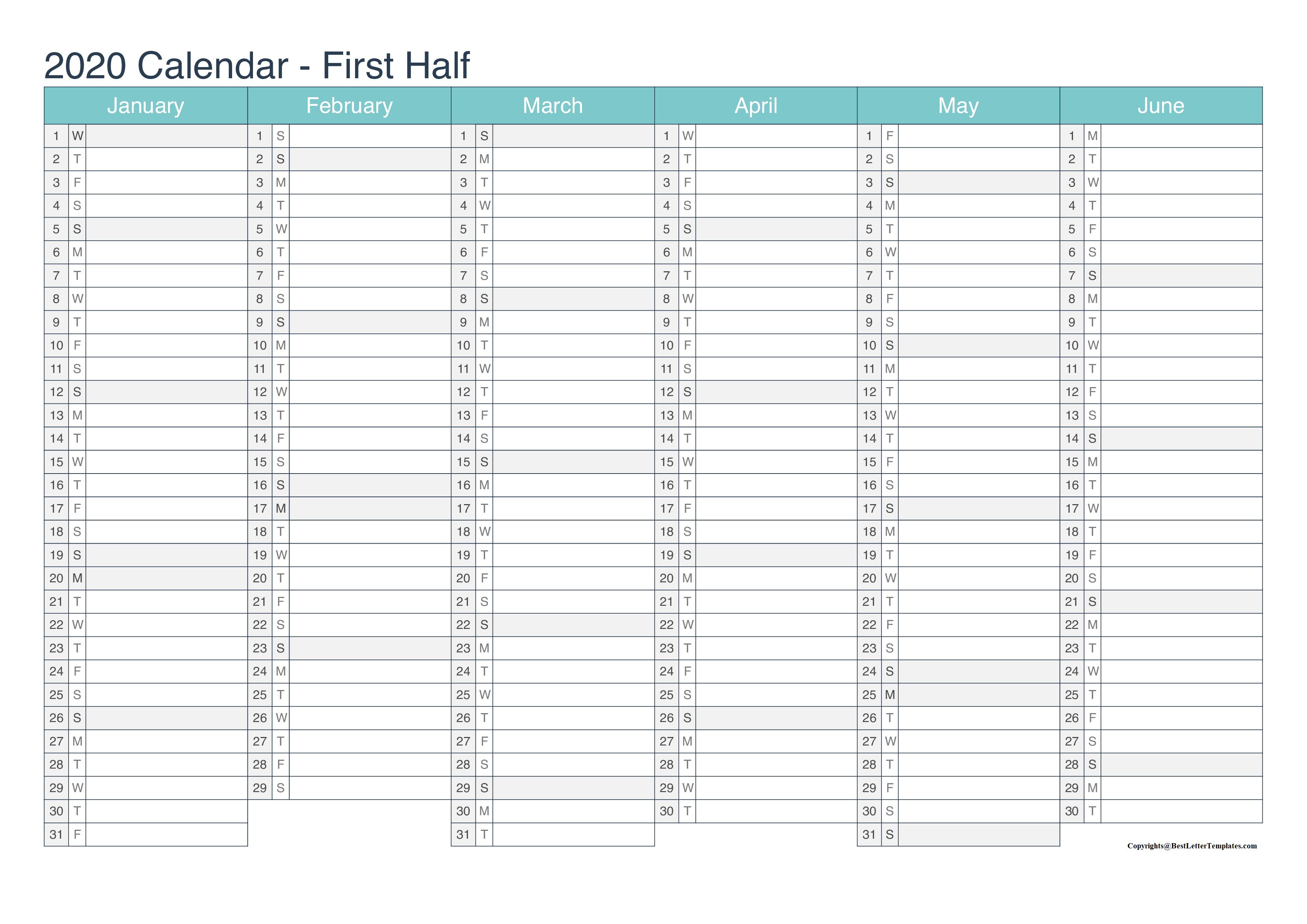 2020 Weekly Calendar Excel