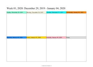 2020 Weekly Calendar Printable