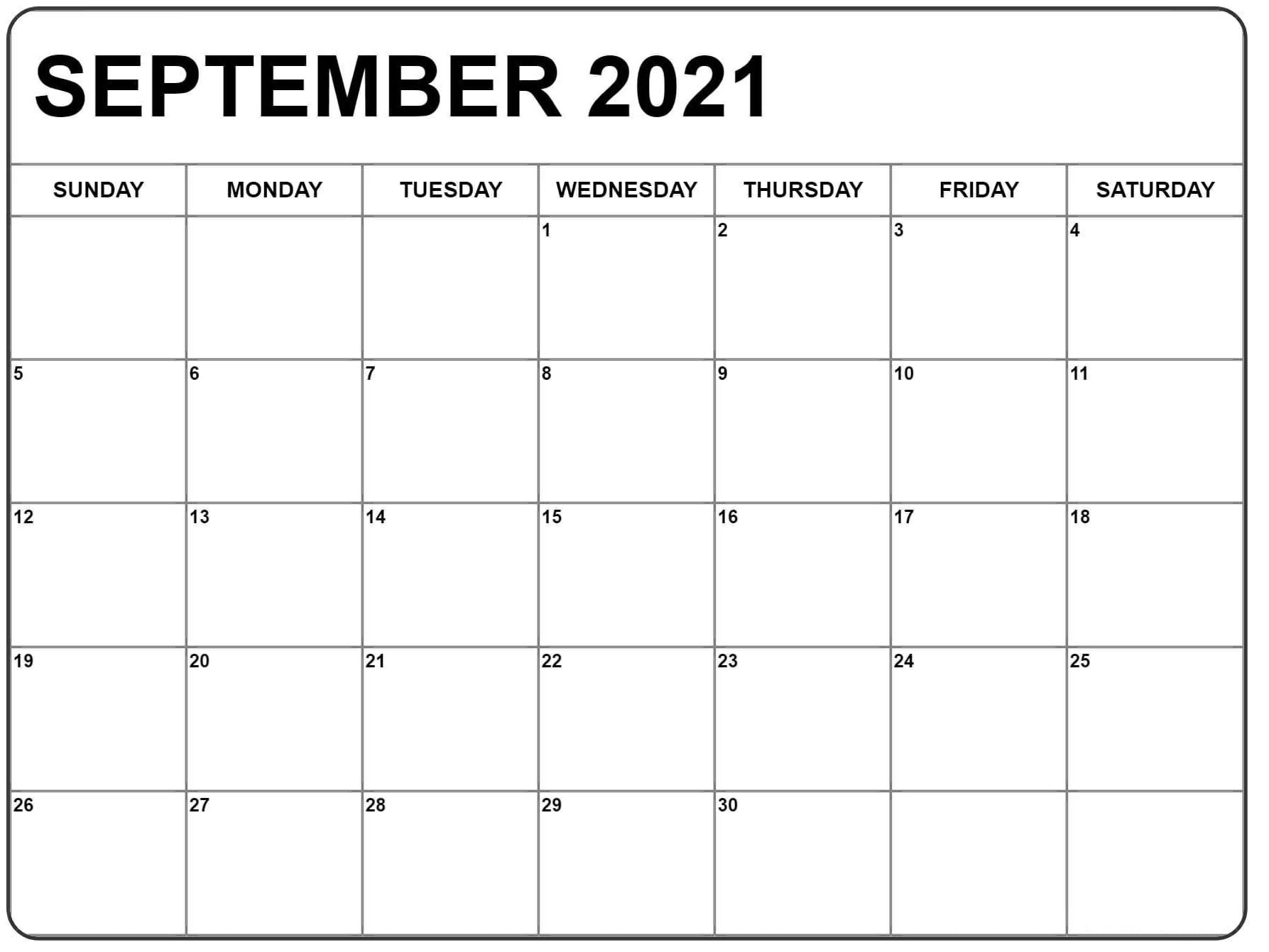 2021 September Calendar Excel