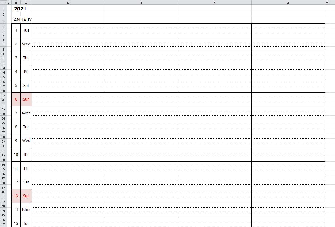 2021 Weekly Calendar Excel