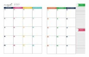2021 Weekly Calendar Printable