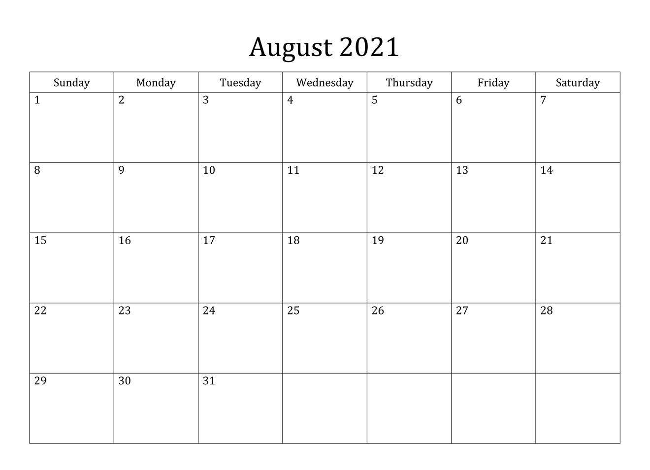 August 2021 Calendar PDF