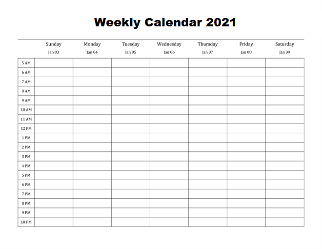 Best Weekly Calendar 2021 Printable