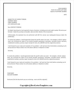 Complaint Letter To Service Provider