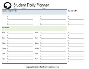 Daily Planner For Students