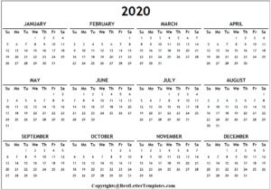 Indian 2020 Calendar Template