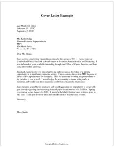 Format of Application Letter For Internship
