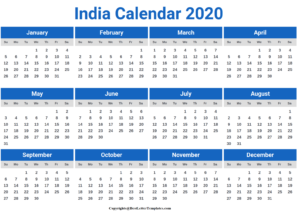 Indian 2020 Printable Calendar