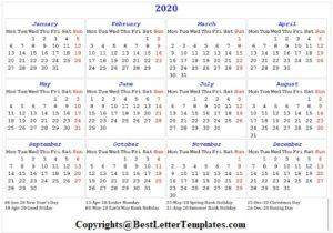 India Calendar 2020 Printable
