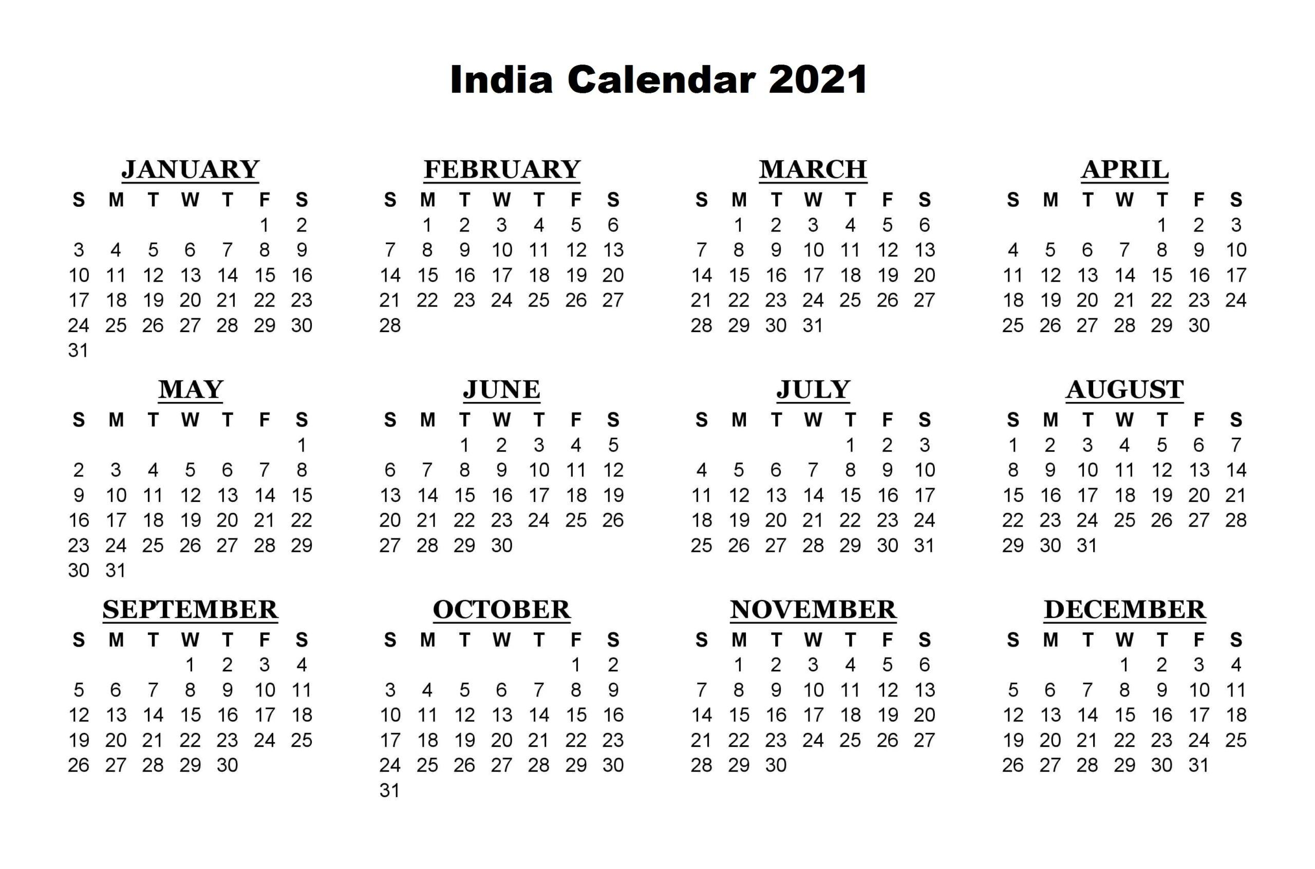 India Calendar 2021 Printable