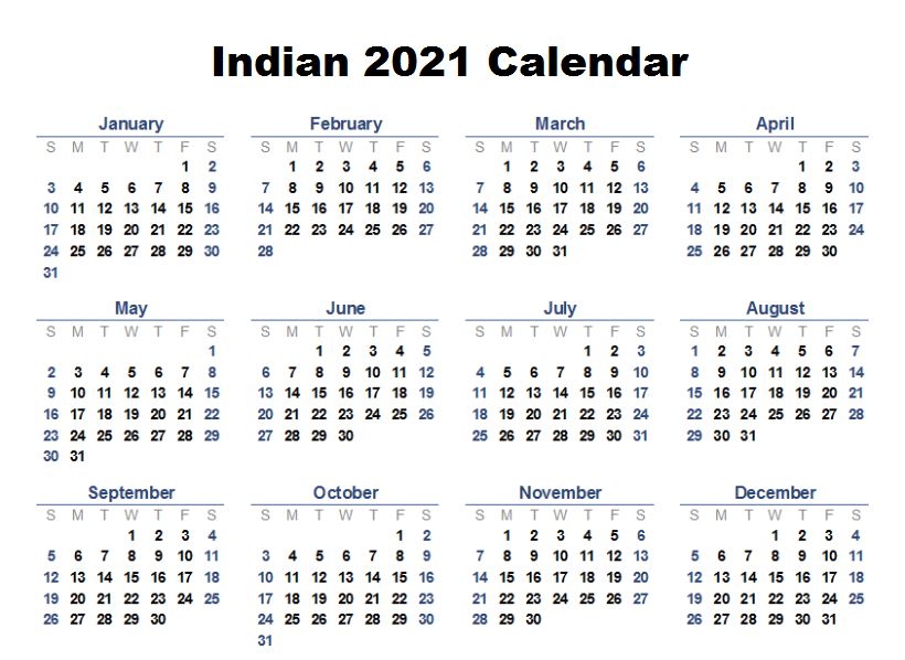 Indian 2021 Blank Calendar