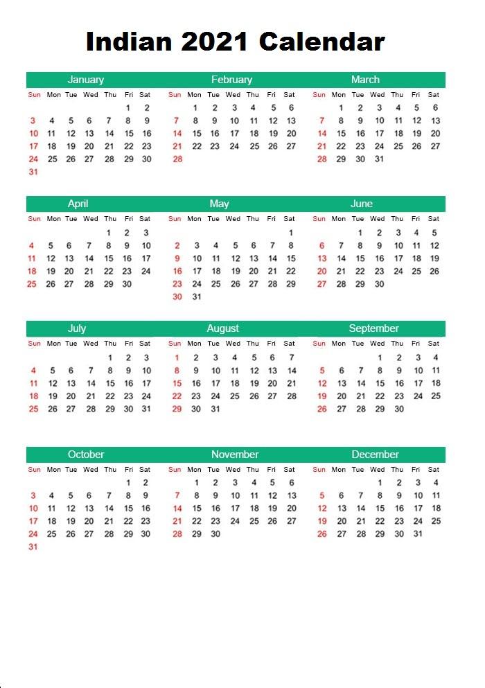 Indian 2021 Calendar PDF