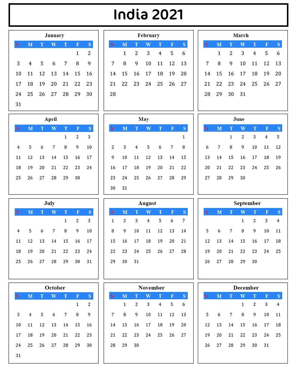 Indian 2021 Printable Calendar