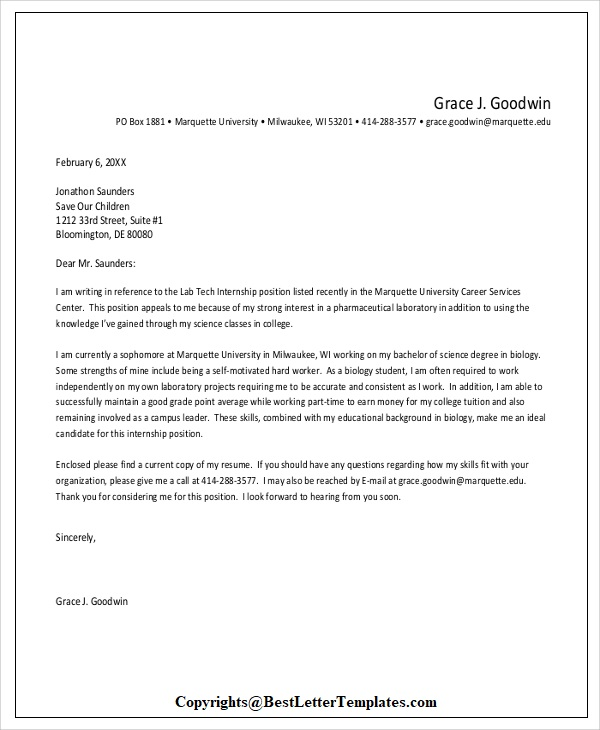 Letter of Application For Internship Sample