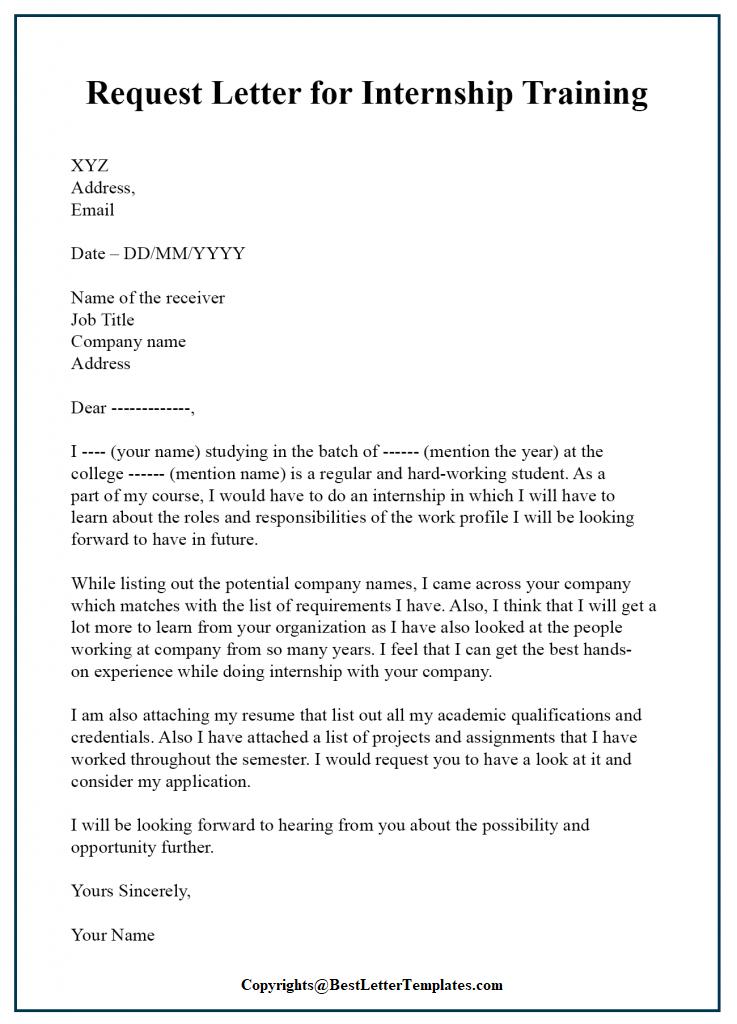 Letter of Application For Internship