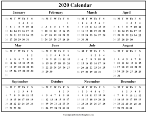 Indian 2020 Blank Calendar Template