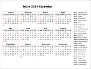 Public Holidays in India 2021