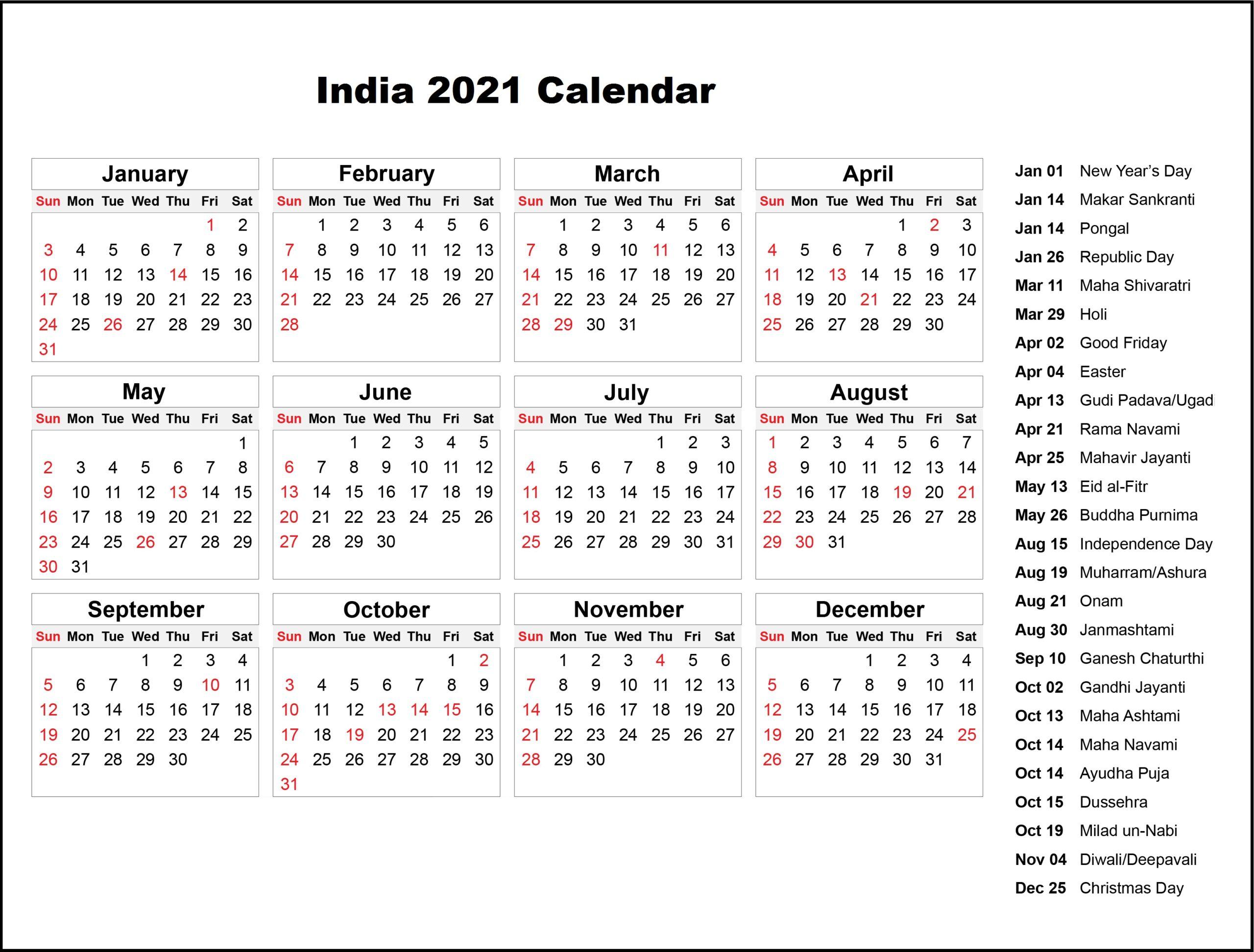 Public Holidays in India 2021