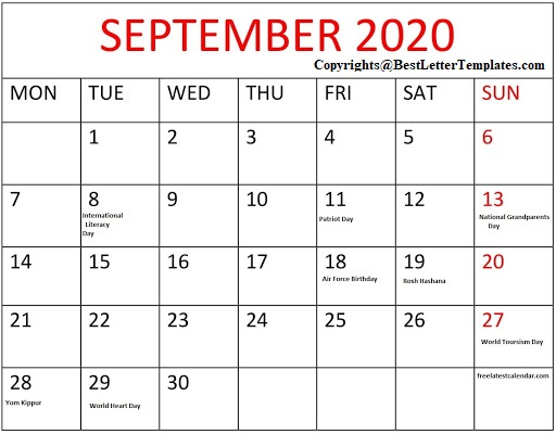 September 2020 Calendar With Holidays